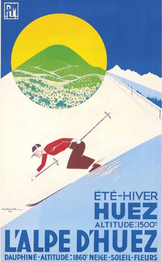 Gaston Gorde, L'ALPE D'HUEZ, 1937 skiing