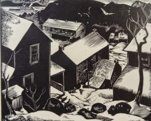 Howard W. Thomas 'Nauvoo Hollow', Wisconsin Artist Calendar, 1938