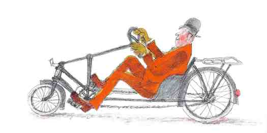 Ib Spang Olsen illustration from LARS PETERS CYKEL (1968) early recumbent bike
