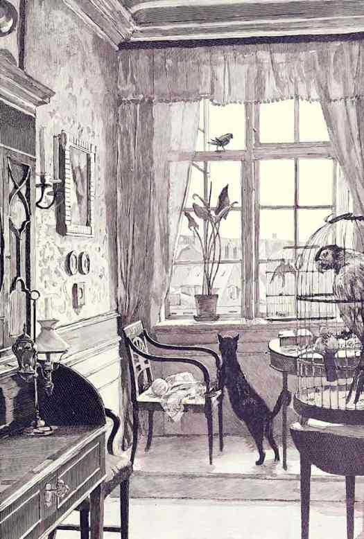 Illustration by Hans Drawing for Hans Christian Andersen's Fairy Tales. 1934 cat looking out window