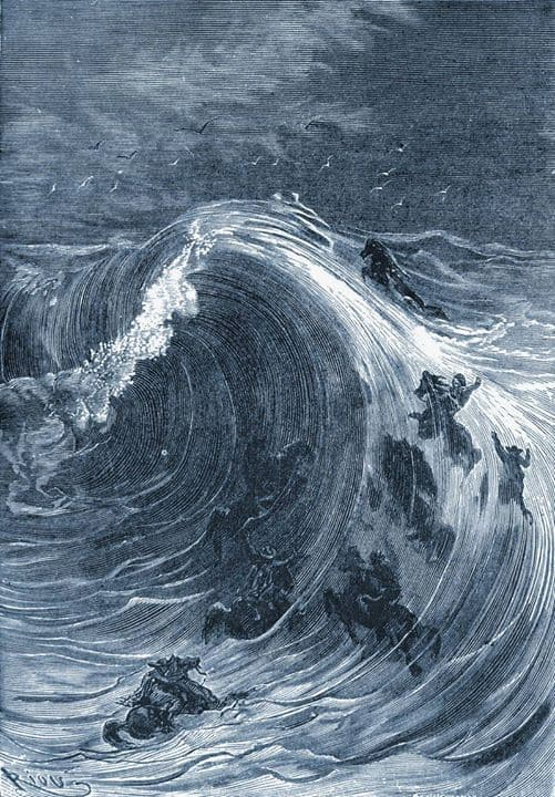 Illustration from In Search of the Castaways by Jules Verne, 1873 by Edouard Riou wave