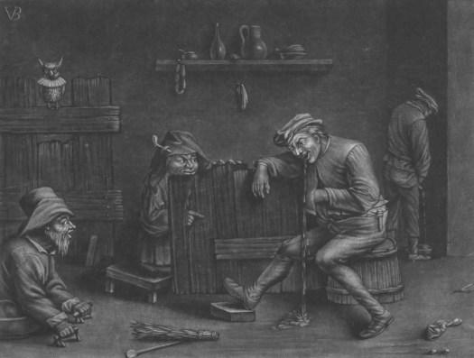 Interior with a man urinating, man vomiting, a dwarf and a beggar, Jan van der Bruggen, 1659 - 1740