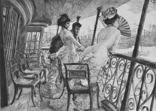 James Tissot women on ship deck