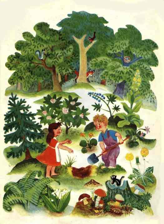 Jane Werner (1914-2005) and Cornelius De Witt (1925-1970) collaborated and produced this 1949 book called- Words How They Look and What They Tell digging hole in forest