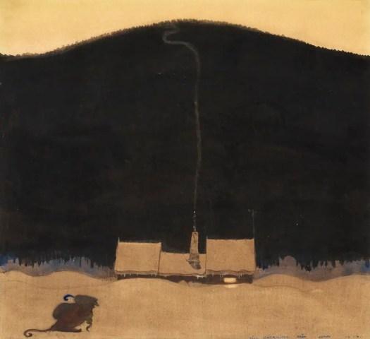 John Bauer,The  Cottage at the Foot of the Mountain, an illustration for Elsa Beskow's  När trollmor skötte kungens storbyk, 1914