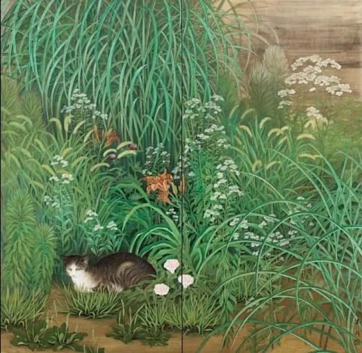 Kagayama Hakuho, Byobu with Cat Lazing in a Summer garden,1920 – 1930