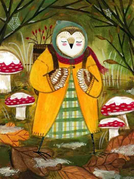 Madison Safer owl with mushrooms