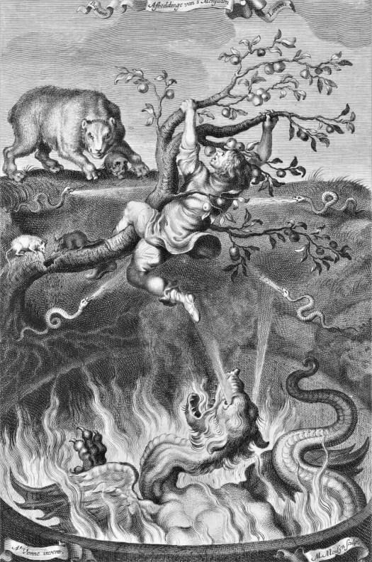 Man in apple tree is in danger of falling out, Michiel Mosijn, after Adriaen Pietersz. van de Venne, 1640 - 1655