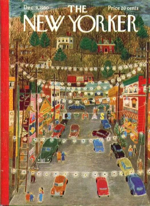 New Yorker cover ~  Ilonka Karasz Main Street Christmas Lights - December 9, 1950