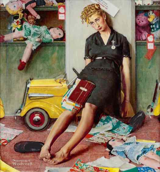 Norman Rockwell (American painter and illustrator) 1894 - 1978 Tired salesgirl on Christmas Eve
