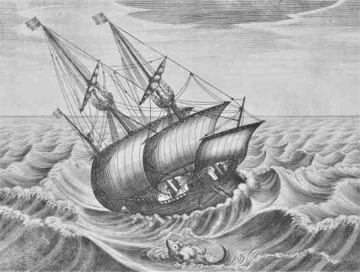 Sailing ship on raging waves, anonymous, after Pieter Bruegel (I), 1600 - 1625