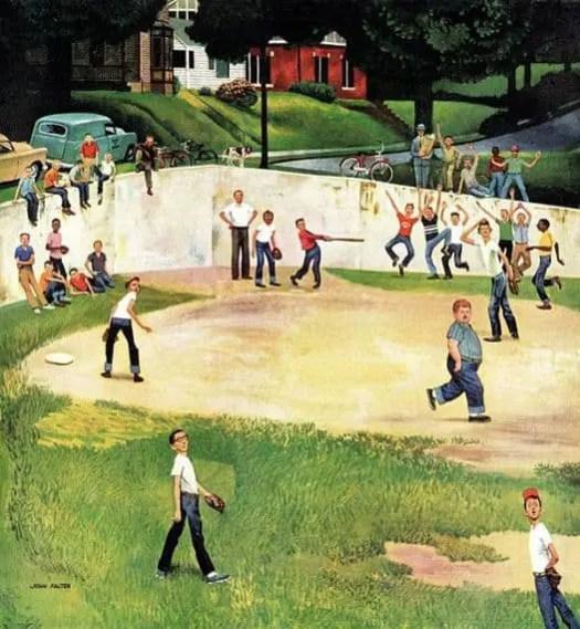 "Saturday Evening Post, July 6, 1957, ""Sandlot Homerun,"" by John Falter baseball"