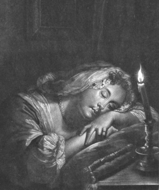 Sleeping girl by candlelight