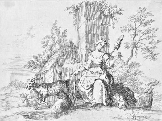 Spinnende herderin, Paul van Somer (II), 1670 - 1697