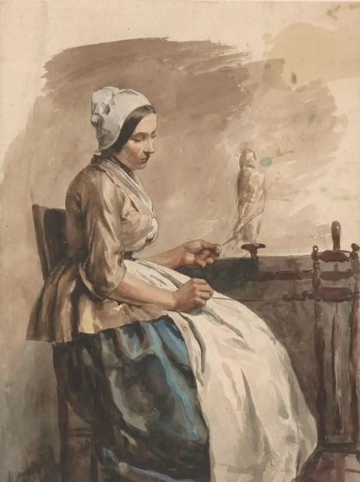 Spinnende jonge vrouw, Jan Weissenbruch, 1832 - 1880