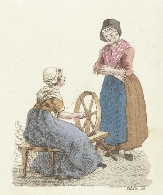 Spinnende vrouw in gesprek met vrouw, Johannes Alexander Rudolf Best, 1823