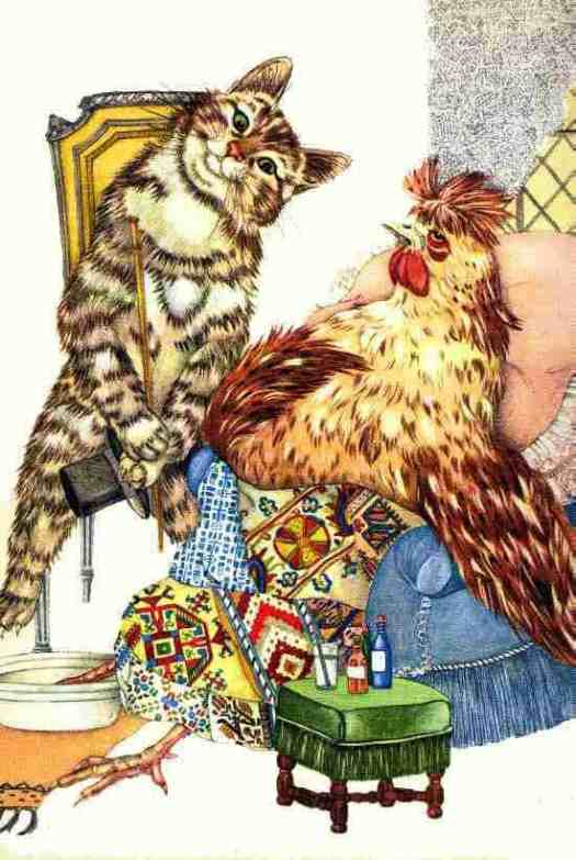 The Cat and the Sick Chicken, illus. by Adrienne Segur (1901-1981) from My Big Book of Cat Stories, 1967. Who knows what this cat is planning.