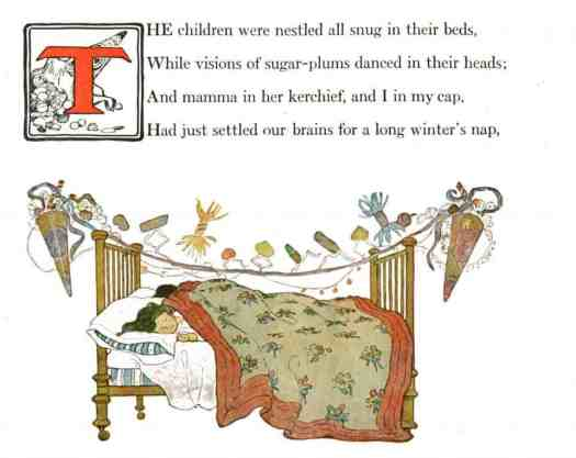 Twas the Night Before Christmas Story Panel 2 with Illustrations by Jessie Willcox Smith. Published 1912