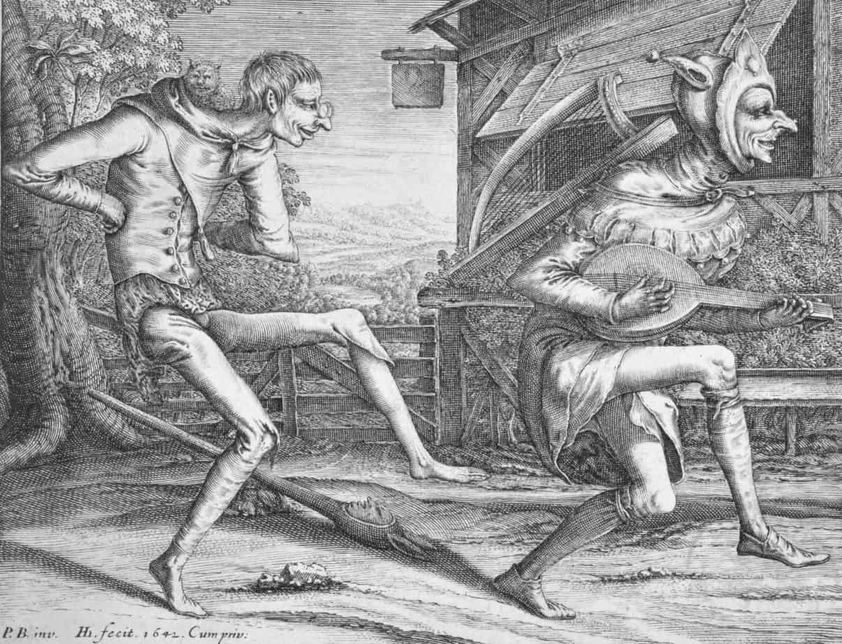 Two Dancing Fools, Hendrick Hondius (I), after Pieter Bruegel (I), 1642 wild things