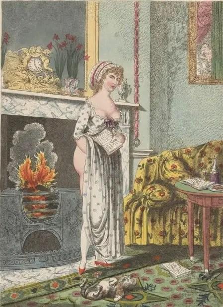 Vrouw warmt zich aan de haard, een boek in haar hand, Charles Williams, 1801 hearth