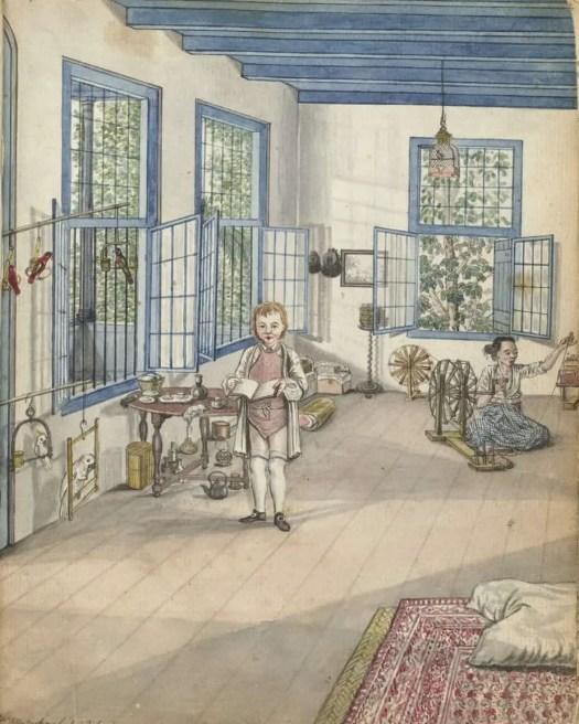 Woonkamer met zoon Jantje en spinnende slavin Flora, Jan Brandes, 1784