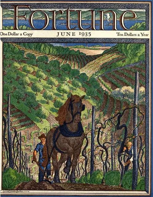 1935 June, cover by Ernest Hamlin Baker orchard slope