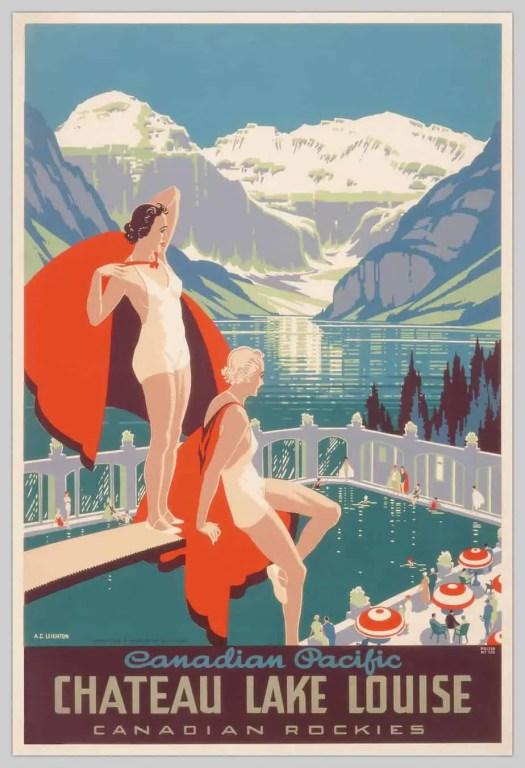 Alfred Crocker Leighton (1901-1965) Chateau Lake Louise 1938 red blue