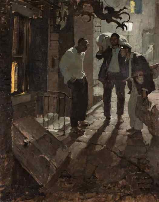 Dean Cornwell (1892 - 1960) 1924 illustration 'Man At The Crossroad' for a Cosmopolitan magazine story