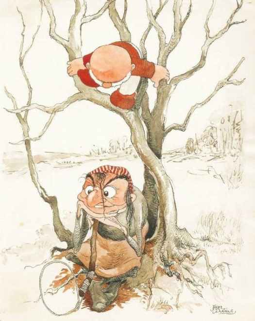 Jean Dulieu (Jan van Oort, 1921-2006), Dutch illustrator. The little gnome Paulus de Boskabouter and his enemy the witch Eucalypta, published in Eva 42,1957