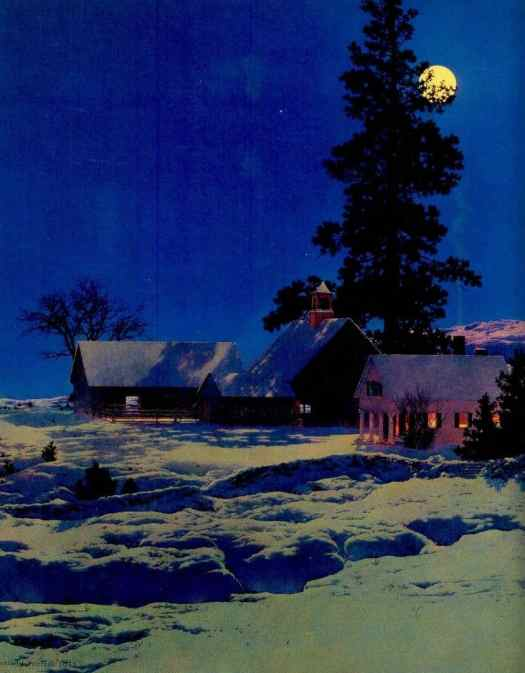 Maxfield Parrish (American, 1870-1966) - Moonlight Night, Winter, 1942