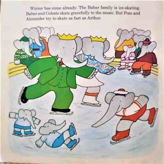 Meet Babar And His Family by Laurent de Brunhoff 1973 ice-skating