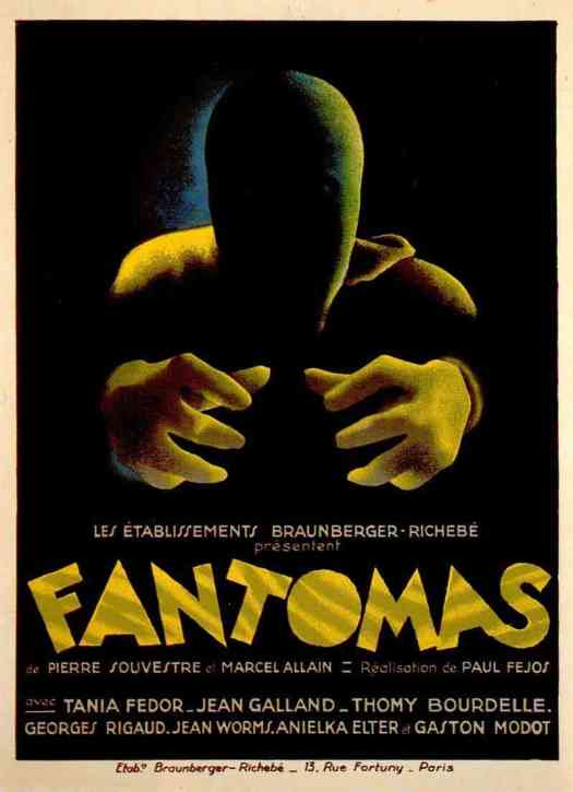Poster Art 1932 Fantomas, illustrator not found, ominous faces in shadow
