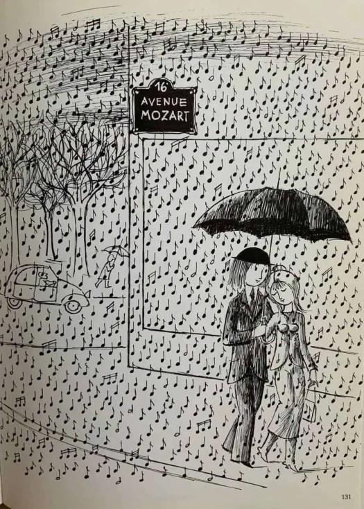 Raymond Peynet, French illustrator 1908-1999 rain