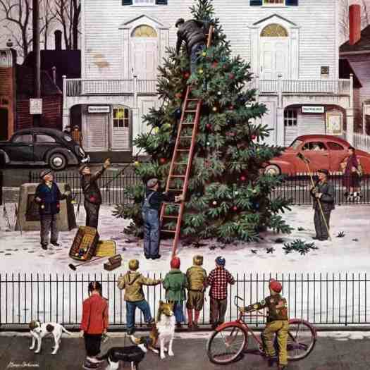 Stevan Dohanos Tree in Town Square 'Saturday Evening Post' cover December 4, 1948