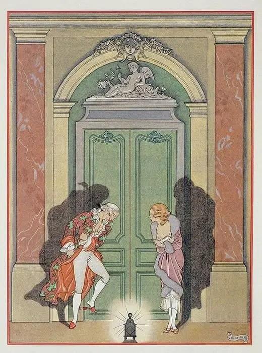 A couple in candle light, illustration of ' Les Liaisons Dangereuse s' by Pierre Chodlerlos de Laclos (1741-1803) published 1920; (pochoir print), Barbier, Georges (1882-1932)