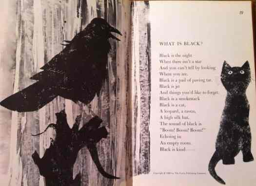 From 'Hailstones and Halibut Bones' by Mary O'Neill (1961) Leonard Weisgard illustration what is black
