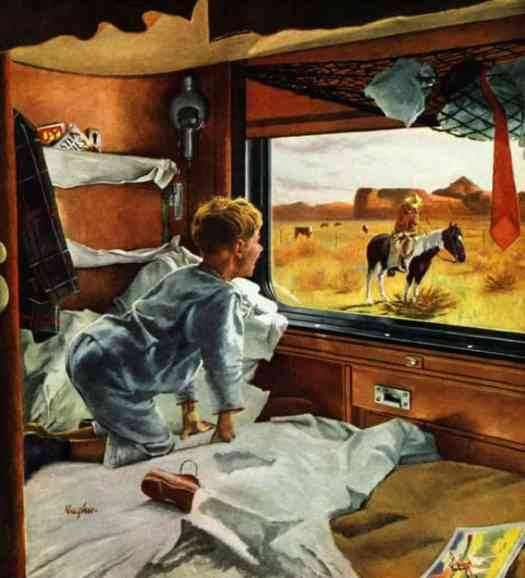 George Hughes (1907-1990) original art for 'Train Window on the West,' Oil on canvas, Saturday Evening Post, July 24, 1954 cover