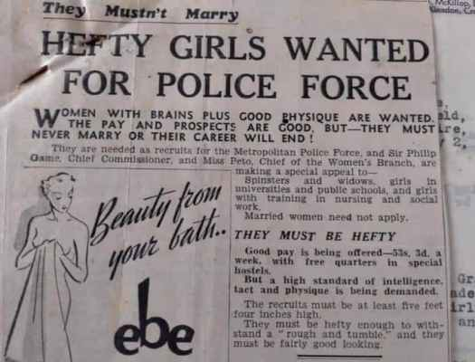 1935-1945, recruitment for police force, hefty women
