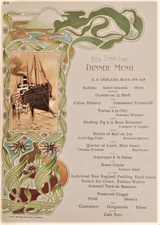 Art nouveau dinner menu from the Red Star Line's S.S. Zeeland on March 18th, 1906 art nouveau