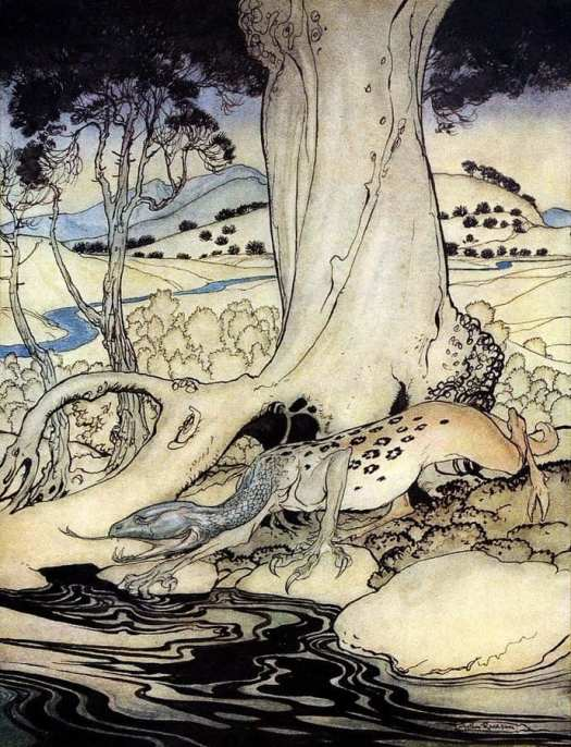 Arthur Rackham, The Questing Beast, The Romance of King Arthur and His Knights of the Round Table, 1917