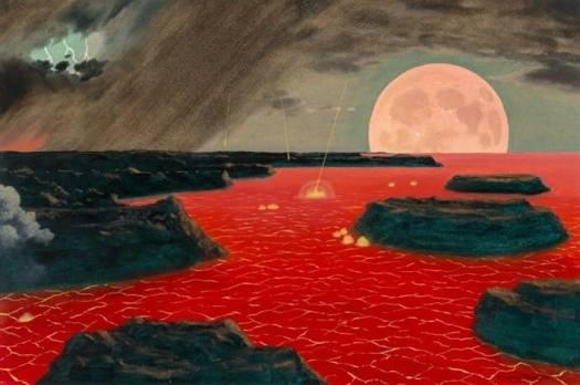 Chesley Bonestell, Primordial Earth, Formation of the Earth, interior book illustration, 1978, first for LIFE mag, 1952 red