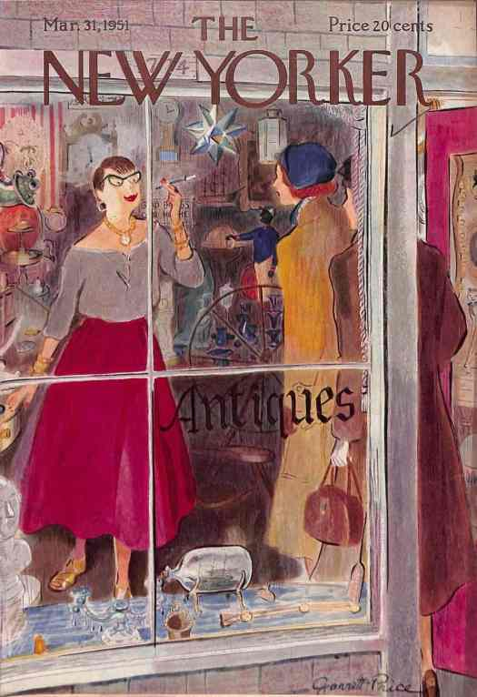 Garrett Price (1896-1979) for a 1951 New Yorker cover, antiques shop