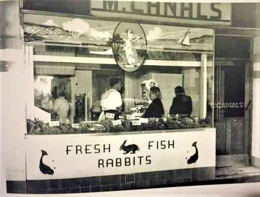 M. Canals fish n rabbit shop, Nicholson St Fitzroy Melbourne 1950s