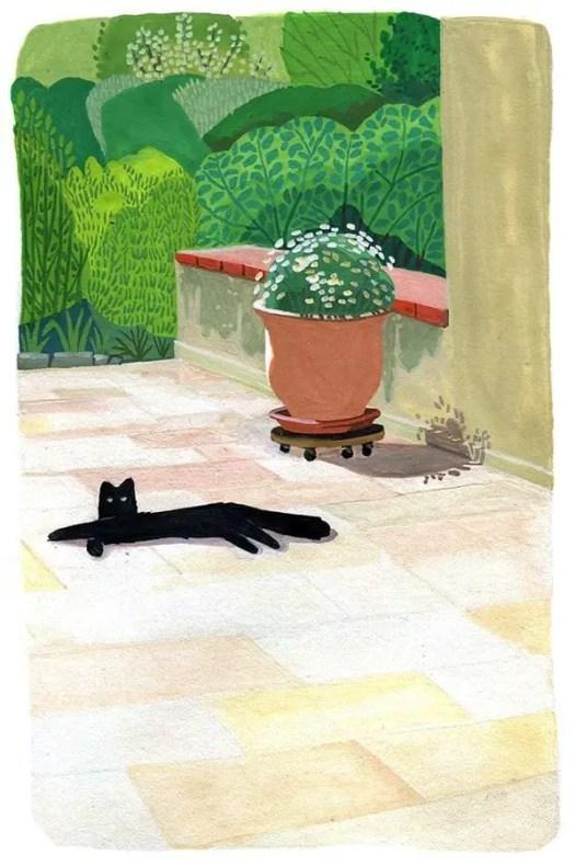 unknown artist  very David Hockney-ish cat