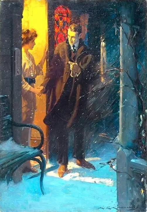 CHARLES E. CHAMBERS (AMERICAN - 1883-1941) goodbye snow night