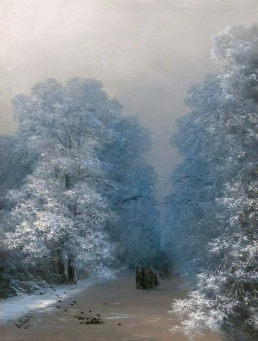 Ivan Aivazovsky (Russian ,1817 - 1900) Winter Landscape, 1876 fog