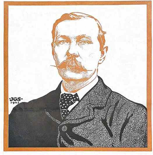 JGS created this illustration of Arthur Conan Doyle for Colliers 1903