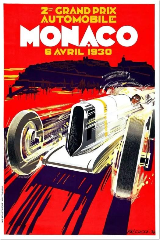 Poster for the 1930 Monaco Grand Prix by the artist Robert Falcucci