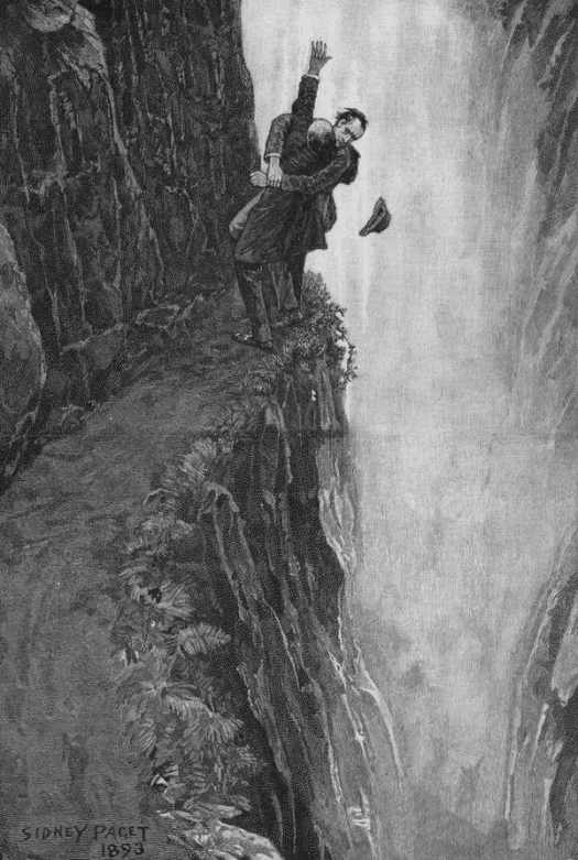 Sidney Paget for 'The Final Problem' (1893) by Sir Arthur Conan Doyle, the Reichenbach Falls fight