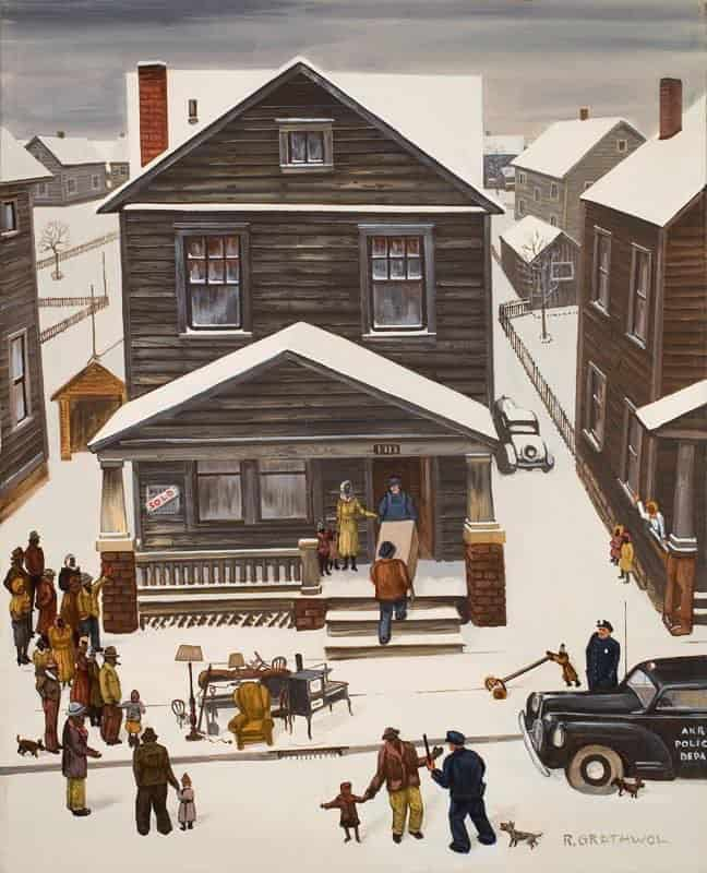 The Eviction (1946) Oil painting by Akron painter and tire factory worker Ray Grathwol (1900-1992)